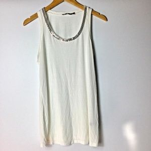 The Limited White Tank Top Size Medium Silver Sequ